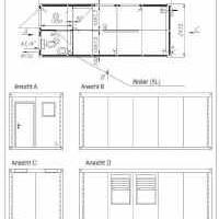 Bürocontainer, Aufenthaltscontainer mit WC-Raum