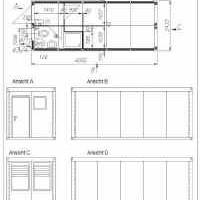 Aufenthaltscontainer / Wohncontainer mit Sanitärraum: Dusche und WC