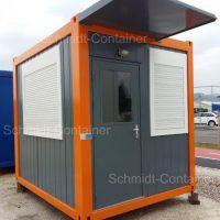 Pförtnercontainer 10 Fuss mit Vordach, ohne Attika