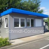 Pförtnercontainer 20 Fuß mit WC-Raum und sekundärer Außenfassade