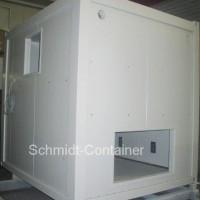 Technikcontainer 10 Fuss als Schaltschrankcontainer mit Wandöffungen, Befestigungsschienen