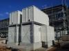 Pelletsanlage: Technikcontaineranlage inkl. Pelletslagecontainer und Stahlkonstruktion.